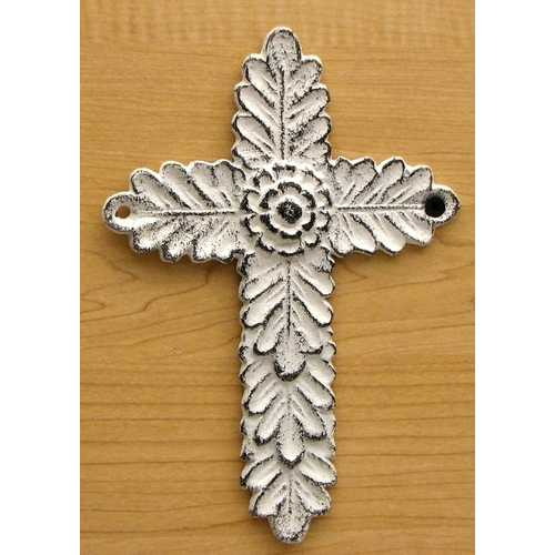 White Antiqued Cast Iron Cross Set of 2