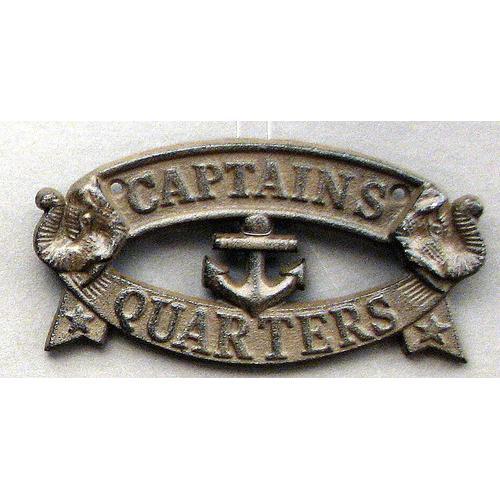 """Cast Iron """"Captain's Quarters"""" Plaque"""