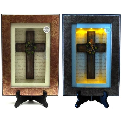 Spiritual Harvest Vine Cross Lighted Shadow Box