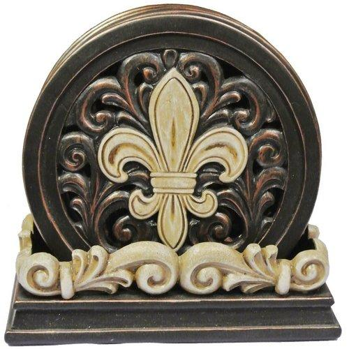 Fleur De Lis Carved Scroll Coaster Set