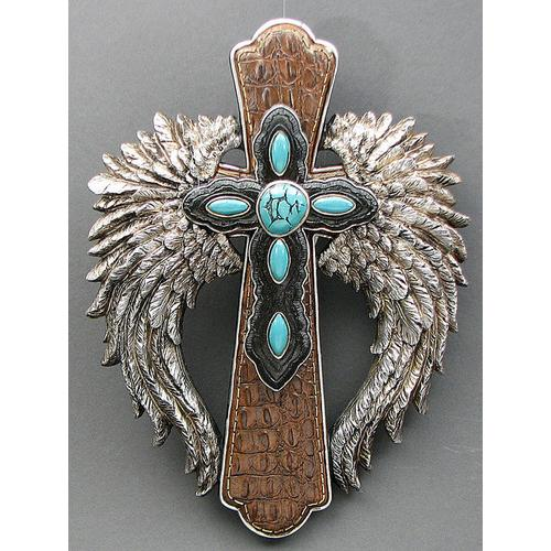 Angel Wings Leather Cross w/Turquoise Stones