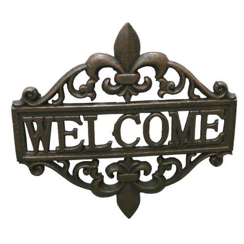 Fleur De Lis Welcome Sign Cast Iron