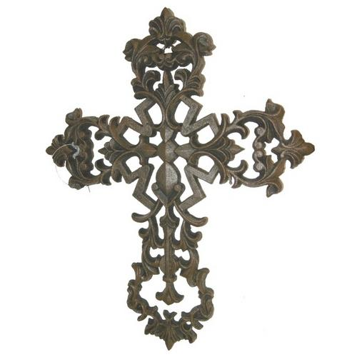 Fleur De Lis Cross with Scrolls Cast Iron