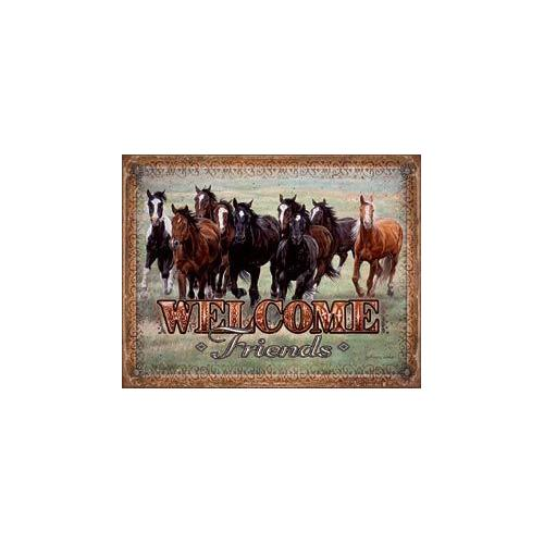 Tin Sign - Welcome Friends- Horses