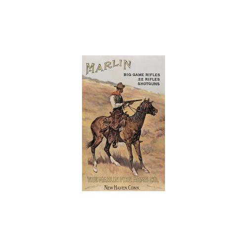 Marlin Cowboy on Horse Tin Sign