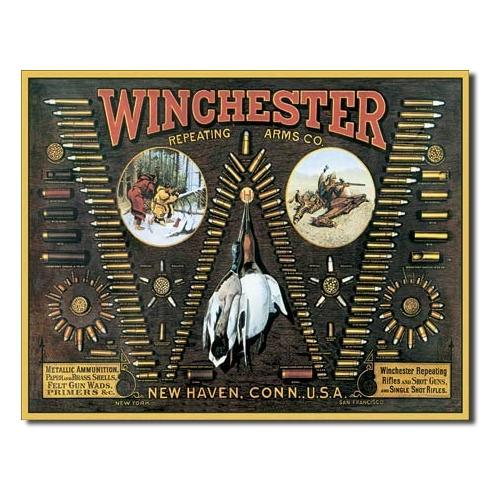 Tin Sign Winchester Bullet Board