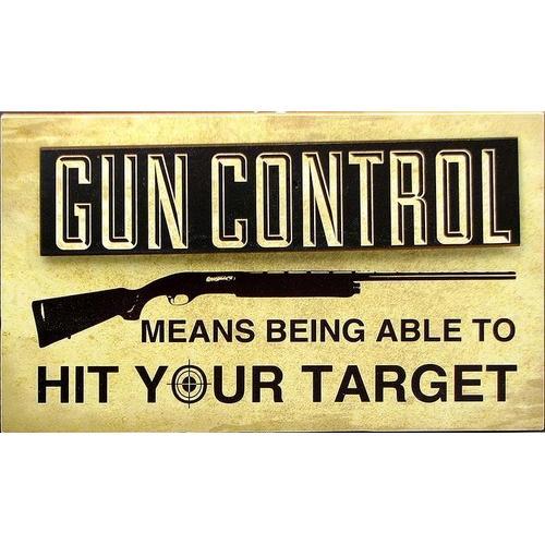 """Wood """"Gun Control"""" Sign"""