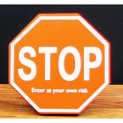 """STOP""  Wood Cubical Sign"