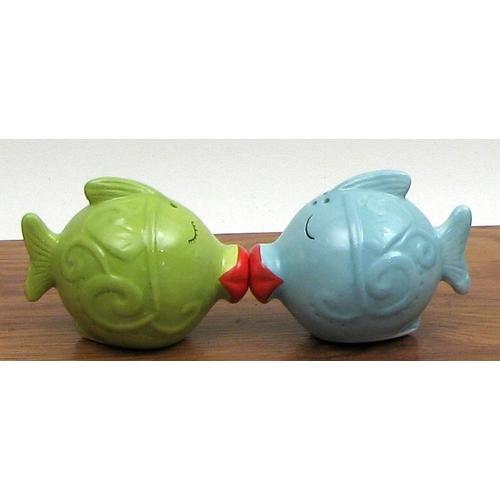 Ceramic Kissing Fish Salt and Pepper Set