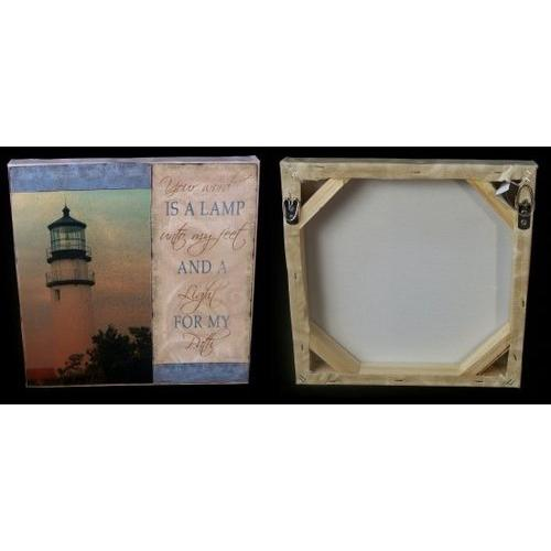 Lighthouse Wall Plaque Wood & Canvas