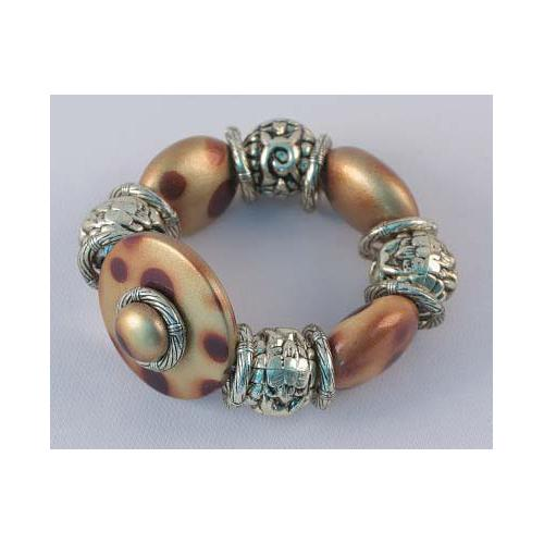 Silver Tone & Brown Beads Stretch Bracelet