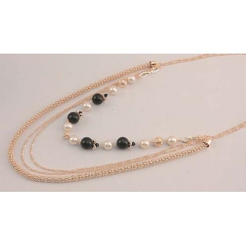 Gold Tone Necklace Black & White Beads