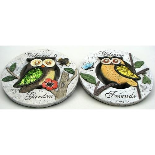 Owl Cement Garden Stone set of 2