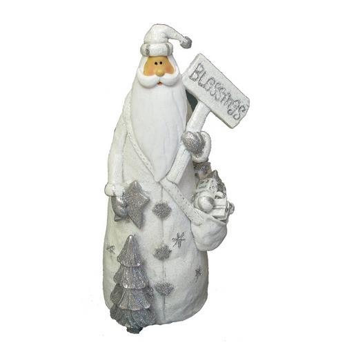 """White Resin Santa """"Blessing"""" Figurine"""