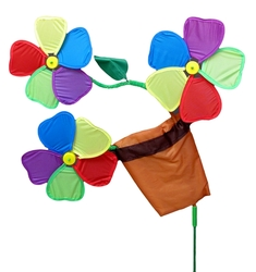 Three Flowers in Pot Wind Spinner