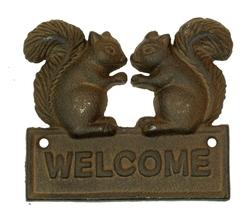 Cast Iron Squirrel Welcome Plaque
