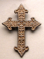 Solid Cast Iron Fleur De Lis Cross