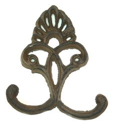 Cast Iron Crown Hooks Set of 6 Rust