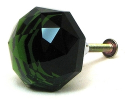 LARGE Green Solid Crystal Glass DrawerDoor Pull