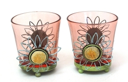 Round Pink Glass Votive Holder Set of Two