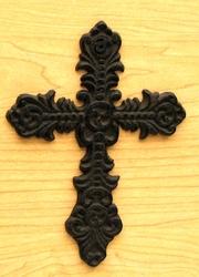 Fleur De Lis Cast Iron Cross