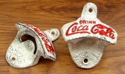 Cast Iron White CC Wall Mount Bottle Opener Set of 2