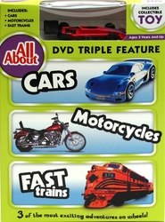 All About Cars-Motorcycles-Trains DVD w Collectible Toy