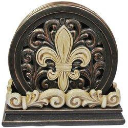 Fleur De Lis Carved Scroll Coaster Set