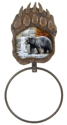 Bear Scene Paw Print Towel Ring