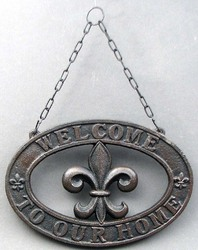 Cast Iron Fleur De Lis Welcome