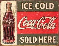 Tin Sign - Coke - c. 1916 Ice Cold  16x12.5