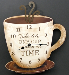 """Coffee Clock """"Take Life One Cup at a Time"""""""