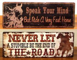 Vintage Tin Cowboy Sign Set of 2
