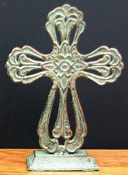 Cast Iron Tabletop Cross w/ Green/Gold Patina