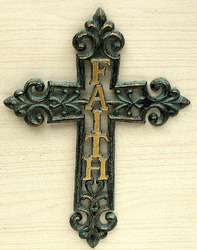 "Cast Iron ""Faith"" Cross"