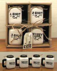 Ceramic Mason Jar Shot Glass Set
