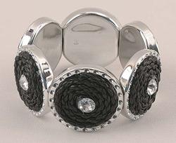 Silver & Black Tone Stretch Bracelet