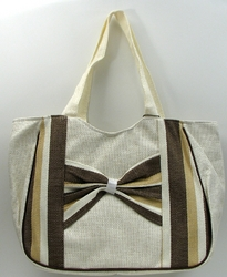 Brown Stripe Straw Bag