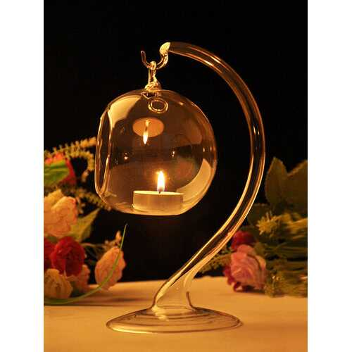 Hanging Crystal Glass Candle Table Light Lamp Planting Holder Candlestick