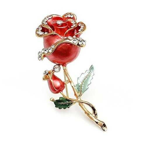 Crystal Rose Flower Rhinestone Pin Brooch