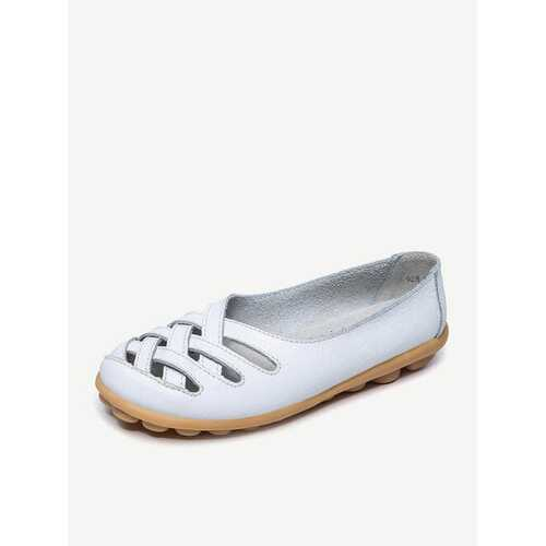 Hollow Out Leather Breathable Flats