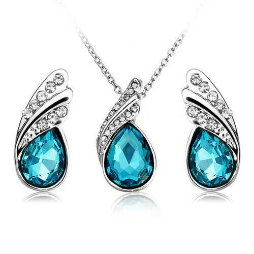 Crystal Drop Jewelry Set