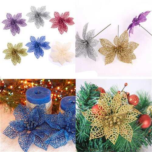 1 PCS Christmas Glitter Hollow Flowers Xmas Tree Decoration