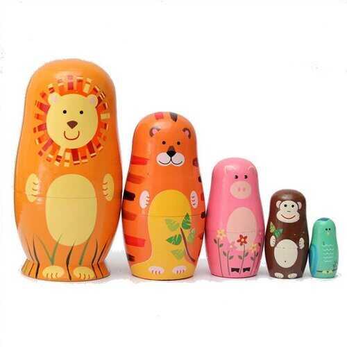 5Pcs Cute Wooden Nesting Dolls