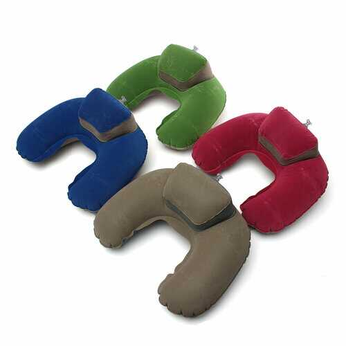 Inflatable U Shape Neck Pillow Flocking Home Travel Office Pillow
