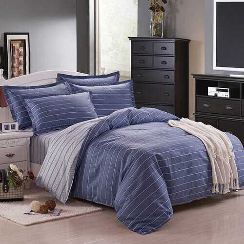 3 Or 4pcs Dark Blue Pure Cotton Taffeta Stripe Printed Bedding Sets 4 Size