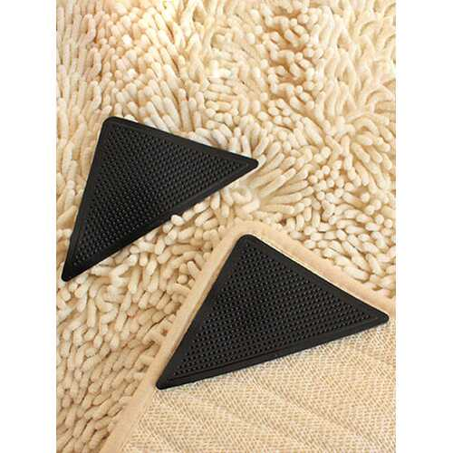4pcs Anti Slip Coner Rubber Mat Trangle Non Slip Carpet Skid Grippers Rug