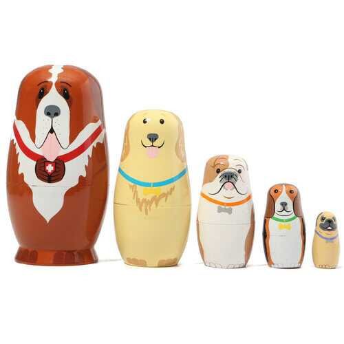 5 Pcs Dogs Wooden Nesting Dolls
