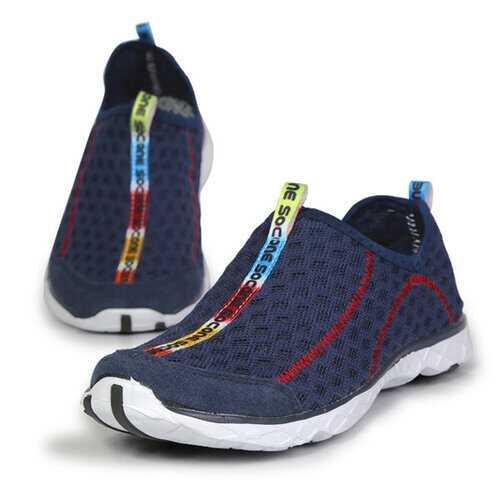 Big Size Mesh Color Match Breathable Slip On Flat Sport Shoe