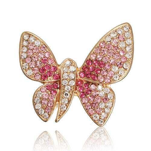 Alloy Rhinestone Butterfly Brooch
